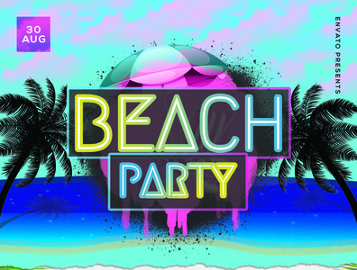 Party flyer sky sand palmtree summer beach party flyer party blue