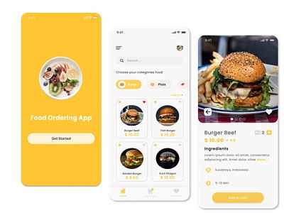 Food Ordering App designs dailyui design app design uxui ux food food illustration mobile uiux mobile design mobile app design mobile app mobile ui burger burgers ui design uidesign ui  ux ui