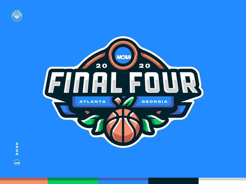 2020 Final Four Branding Concept championship college ncaa peach 4 final four final atlanta georgia basketball crest badge illustration design vector branding brand sport logo sports