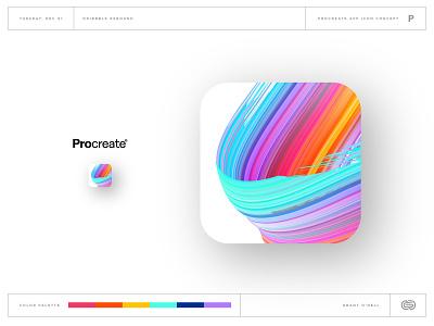 ProCreate App Icon apple ipad procreate brush color web ux ui design illustration vector branding brand draw paint app icon