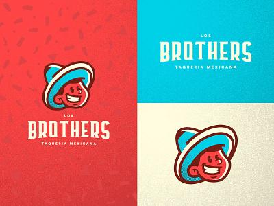 Los Brothers Branding Concept tacos taco brothers brother restaurant branding mexican restaurant vector illustration sombrero restaurant mexican branding brand logo