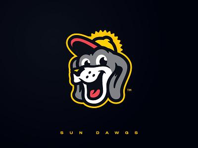 Sun Dawgs Concept california character mascot design mascot dog sun icon illustration design vector milb baseball branding brand sport logo sports