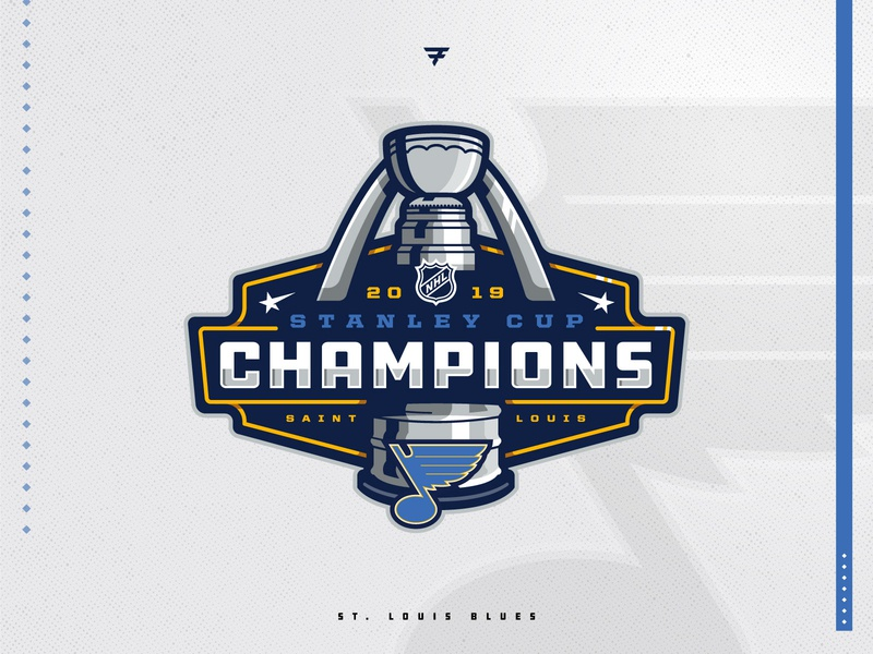 Stanley Cup Champions championship champs champion st louis blues blue stanley cup hockey badge icon illustration design vector branding brand sport logo sports