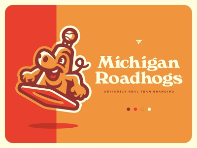 Michigan Roadhogs Team Branding typography orange pig cone mascot milb baseball illustration design vector branding brand sport logo sports
