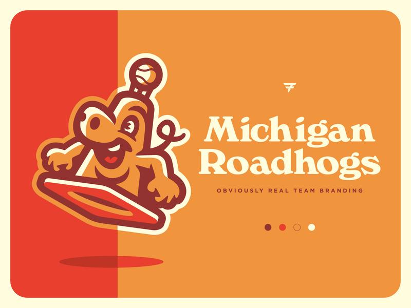Michigan Roadhogs Team Branding typography orange pig cone mascot milb baseball illustration design vector branding brand sport logo sports