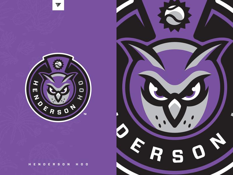 Henderson Hoo Social purple owl badge milb icon baseball illustration design vector branding brand sport logo sports