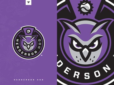 Henderson Hoo Social purple owl badge milb icon baseball illustration design vector branding brand sport logo sports