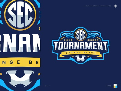 2019 SEC Soccer Tournament tournament football beach soccer typography badge illustration design vector branding brand sport logo sports