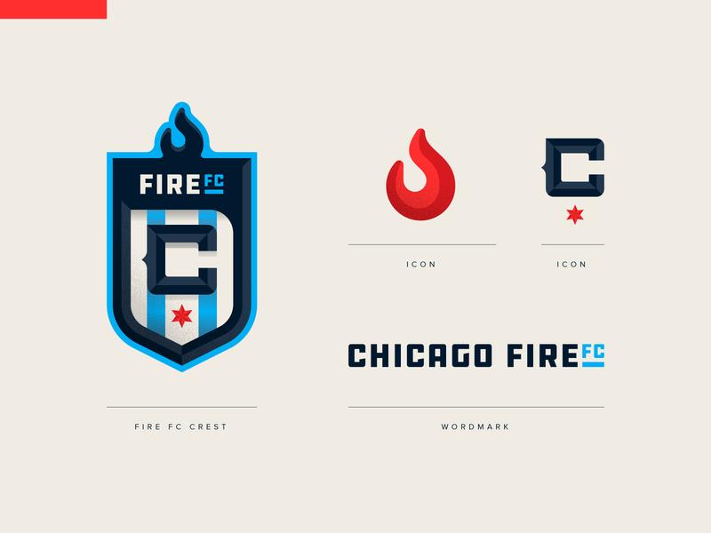 Chicago Fire FC flame fire football soccer crest badge icon illustration design vector branding brand sport logo sports