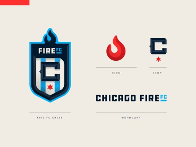 Chicago Fire FC flame fire football soccer crest badge icon illustration design vector branding brand sport logo sports
