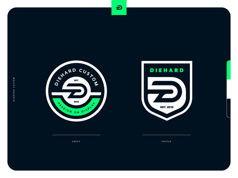Diehard Custom Brand Extensions lettermark monogram shield crest badge icon illustration design vector branding brand sport logo sports
