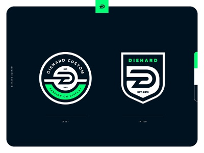Diehard Custom Brand Extensions lettermark monogram shield crest badge icon illustration design vector branding brand sport logo sports