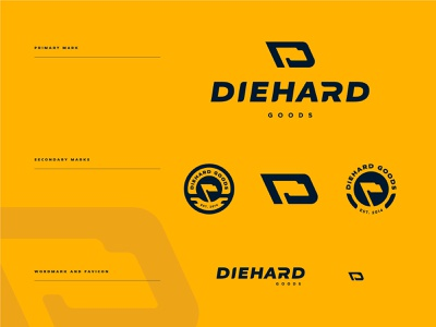 Diehard Goods Proposal crest wordmark monogram lettermark flag apparel goods badge icon illustration design vector branding brand sport logo sports