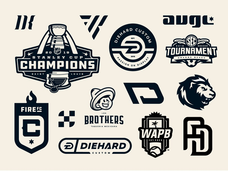 A Very Branded 2019 year 2019 logos series collection wordmark crest badge icon illustration design vector branding brand sport logo sports