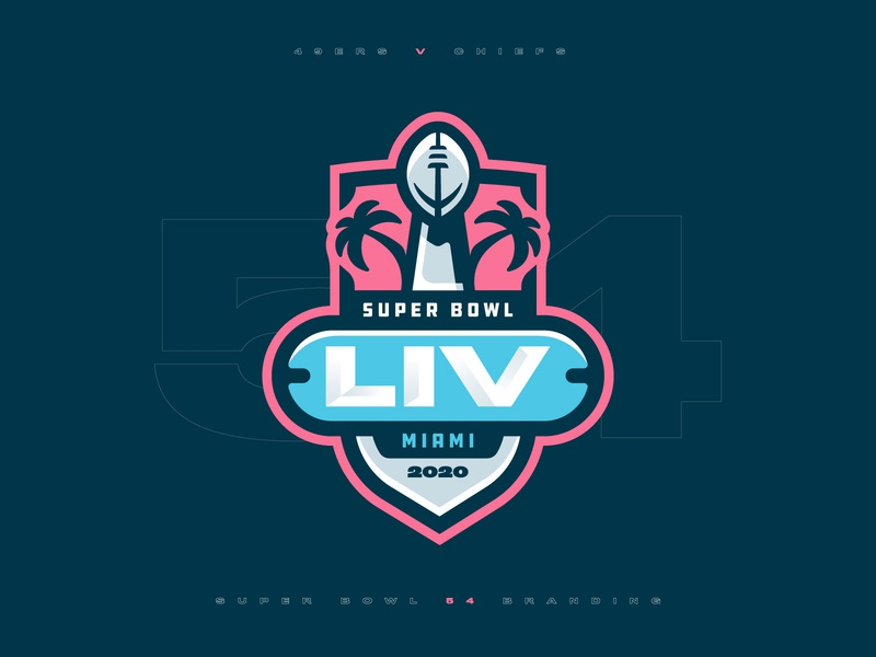 Super Bowl LIV Rebrand trophy miami superbowl nfl football badge icon illustration design vector branding brand sport logo sports