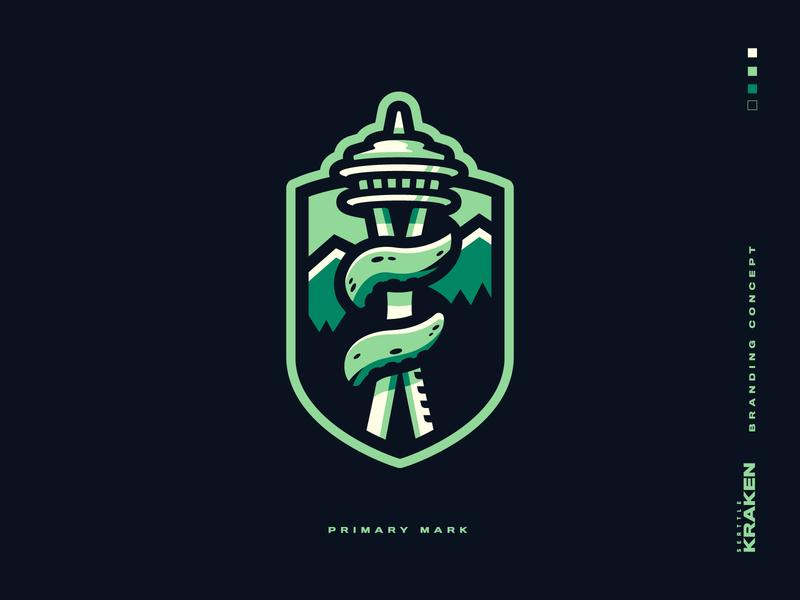 Seattle Kraken Branding hockey logo octopus kraken green emerald washington pnw seattle nhl hockey badge icon illustration design vector branding brand sport logo sports