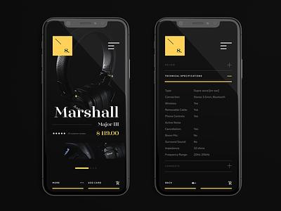 S Store ecommerce music app app minimal shop e-commerce dark ux ui