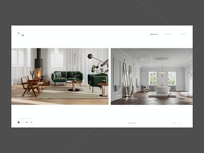 TM - homepage portfolio screen homepage website webbdesign render minimal ux ui web architecture