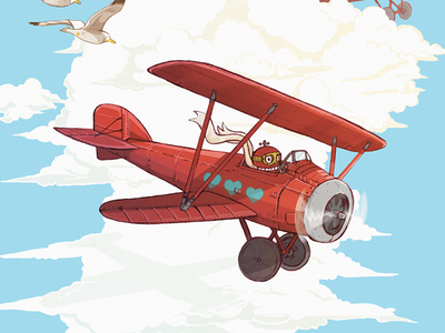 Dog fight graphic fly clouds sky pencil drawing illustration robot baron plane red