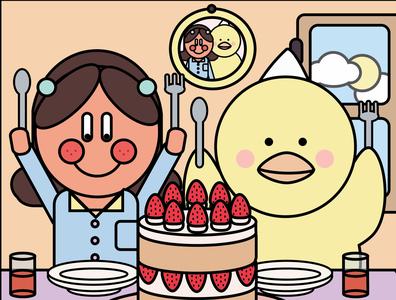 Birthday cake minimal illustration flat design