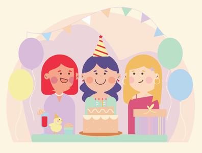 Birthday birthday cake birthday birthday party graphic design minimal illustration flat design