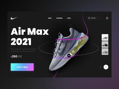 Nike Landing Page footwear landingpage sneakers nike shoes web ux app ui design