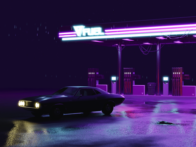 Blender 3D - Fuel Station game design game art 3d animation 3d photoshop illustration design blender 3dsmax 3d artist 3d art synthwave