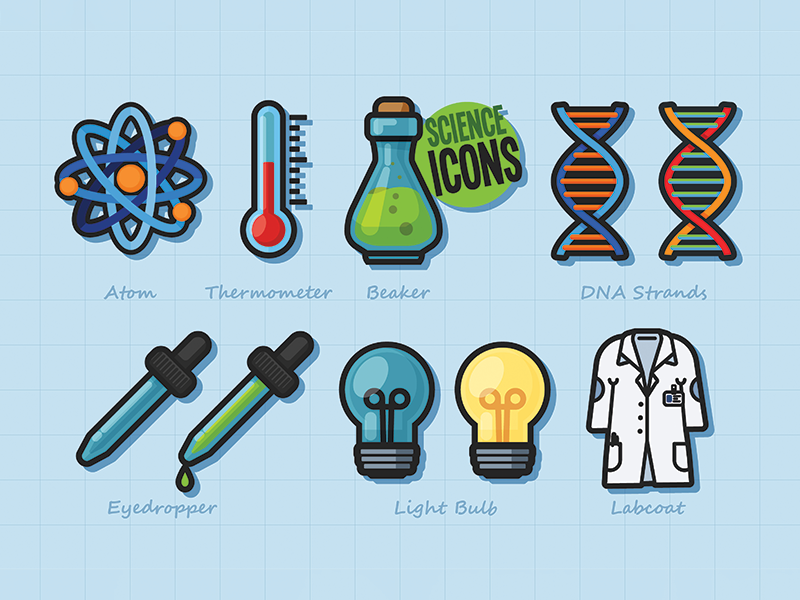 Science Icons science and technology icons lab coat light bulb eyedropper dna beaker thermometer atom science
