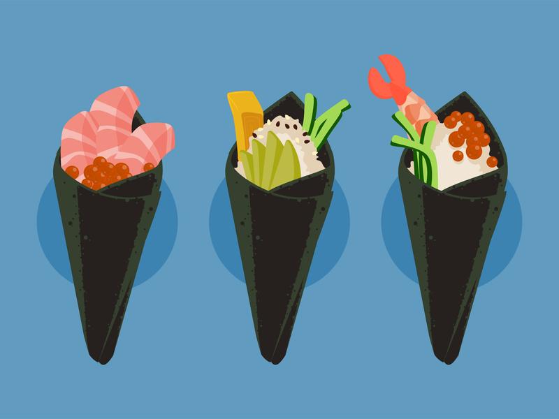 Handrolls vector illustration vector seaweed tamago rice food hand roll sushi