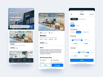 Real estate app renting house real estate rent application ux mobile design clean app ui