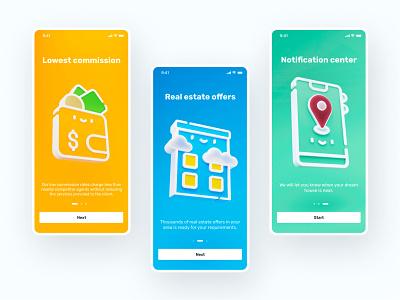 Real estate app onboarding blender application onboarding design clean ux mobile app graphic design 3d ui