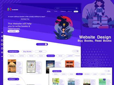 E-book website Design (UI) website creative books clean vector illustration shafi09 reaz shafi ui  ux ui design ui