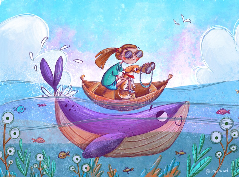 Ocean trip book cover fish trip ocean life book childrens books kids illustration illustration children book illustration children ocean