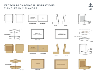 Freebie Packaging Illustrations icons graphic design illustrator illustration box package packaging download vector freebie
