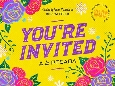 Posada Invite line art illustration graphic design typography roses fiesta hispanic mexican party invitation invite