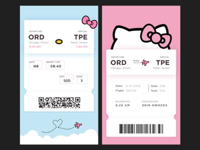 Hello Kitty Boarding Pass Variants