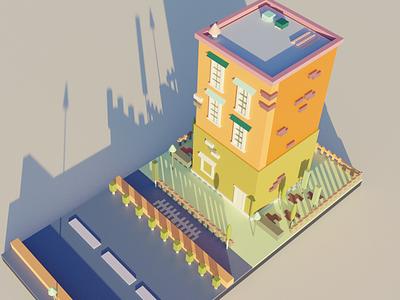 Absolute Basic Low Poly Model render building lowpoly blender model 3d