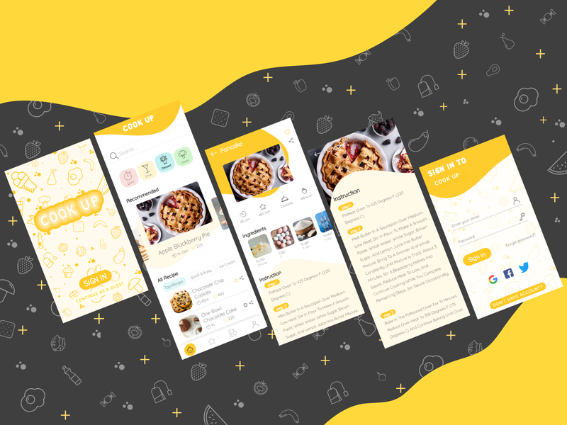 Cooking app design app design illustration xd illustrator