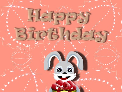 Happy birthday bunny with gift illustration design style vector