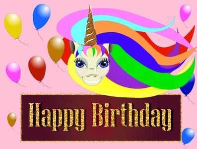 birthday party invitation card with balloons design logo vector illustration