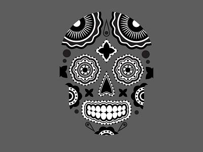 Gray Skull Illustration flowers forms form composition vector calavera pattern aesthetic skull adobe illustrator vector illustration flat illustration blackandwhite design flat illustration