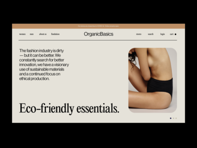OrganicBasics underwear fashion ethical 80s ui brand visual identity identity branding design branding typography web design web