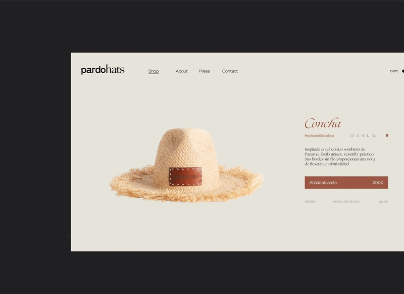 Pardo hats - product page logo hats hat branding design brand typography identity branding fashion design product page ecommerce