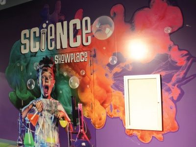Science Showplace Entrance bright museum childrens museum wall graphics wall installation exhibit design exhibit entrance entryway entry theater science
