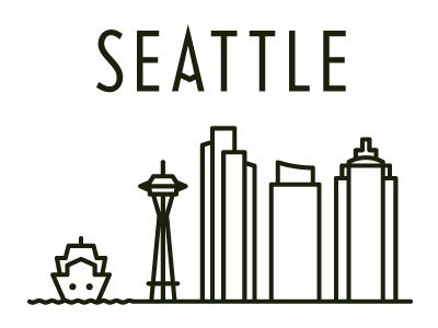 Seattle Skyline seattle illustration postcard typography iconography travel