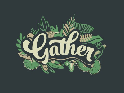 Event Illustration for Gather 2016 native plants nature brand logo illustration