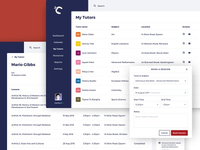 Crimson – Book a Session list tables learning app educational layout ux ui