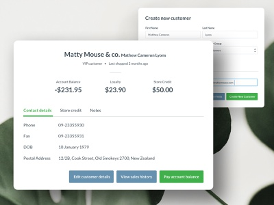 Vend – Customer Profiles profile balances account customer product design ux ui