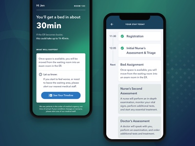 Vital — Patient Mobile Experience wait time timeline machine learning healthcare medical app hospital patient emergency room mobile product design ux ui
