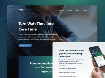 Vital — A Vision for Patient Care patients nurses doctors emergency room medical app healthcare website marketing brand ux ui